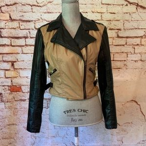 Faux Leather Moto Jacket By Red Snap